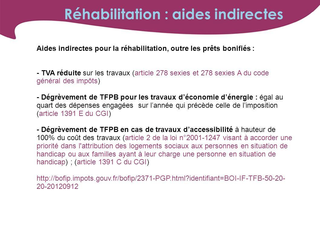Aides indirectes pour la réhabilitation, outre les prêts bonifiés : - TVA réduite sur les travaux (article 278 sexies et 278 sexies A du code général des impôts) - Dégrèvement de TFPB pour les travaux déconomie dénergie : égal au quart des dépenses engagées sur lannée qui précède celle de limposition (article 1391 E du CGI) - Dégrèvement de TFPB en cas de travaux daccessibilité à hauteur de 100% du coût des travaux (article 2 de la loi n°2001-1247 visant à accorder une priorité dans l attribution des logements sociaux aux personnes en situation de handicap ou aux familles ayant à leur charge une personne en situation de handicap) ; (article 1391 C du CGI) http://bofip.impots.gouv.fr/bofip/2371-PGP.html?identifiant=BOI-IF-TFB-50-20- 20-20120912 Réhabilitation : aides indirectes