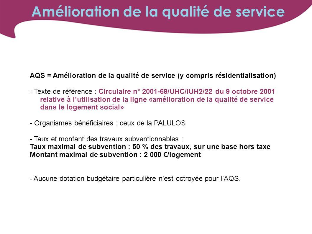 AQS = Amélioration de la qualité de service (y compris résidentialisation) - Texte de référence : Circulaire n° 2001-69/UHC/IUH2/22 du 9 octobre 2001 relative à lutilisation de la ligne «amélioration de la qualité de service dans le logement social» - Organismes bénéficiaires : ceux de la PALULOS - Taux et montant des travaux subventionnables : Taux maximal de subvention : 50 % des travaux, sur une base hors taxe Montant maximal de subvention : 2 000 /logement - Aucune dotation budgétaire particulière nest octroyée pour lAQS.