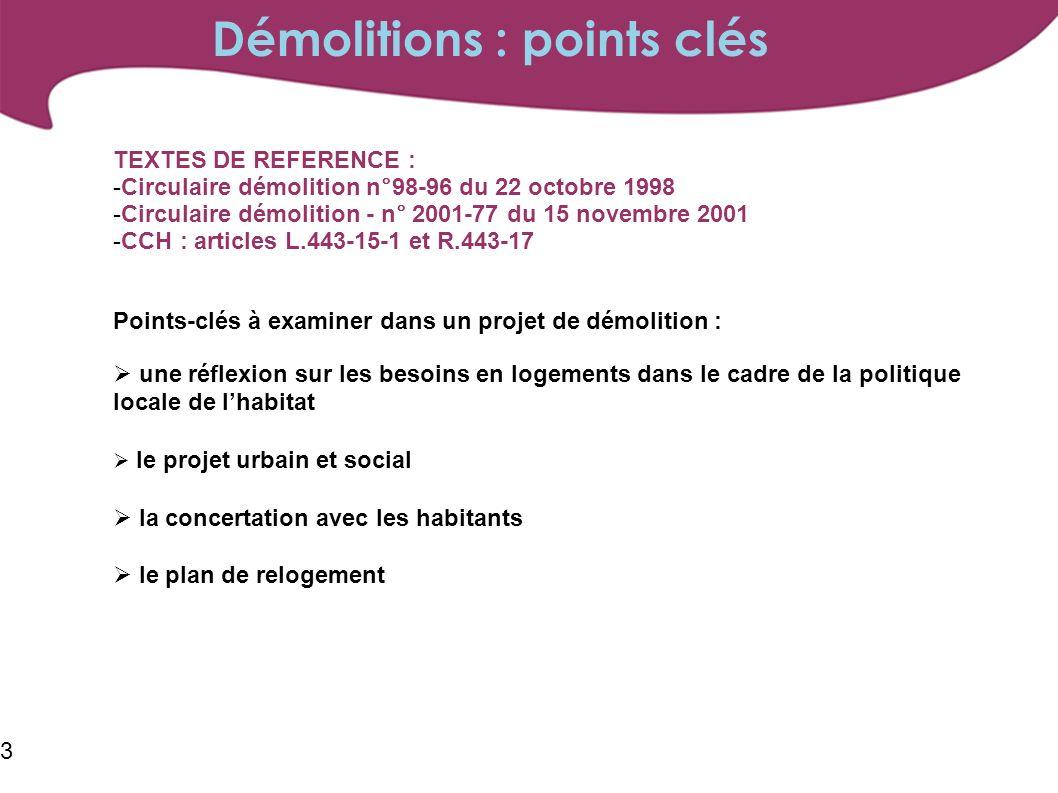 3 TEXTES DE REFERENCE : -Circulaire démolition n°98-96 du 22 octobre 1998 -Circulaire démolition - n° 2001-77 du 15 novembre 2001 -CCH : articles L.443-15-1 et R.443-17 Points-clés à examiner dans un projet de démolition : une réflexion sur les besoins en logements dans le cadre de la politique locale de lhabitat le projet urbain et social la concertation avec les habitants le plan de relogement Démolitions : points clés