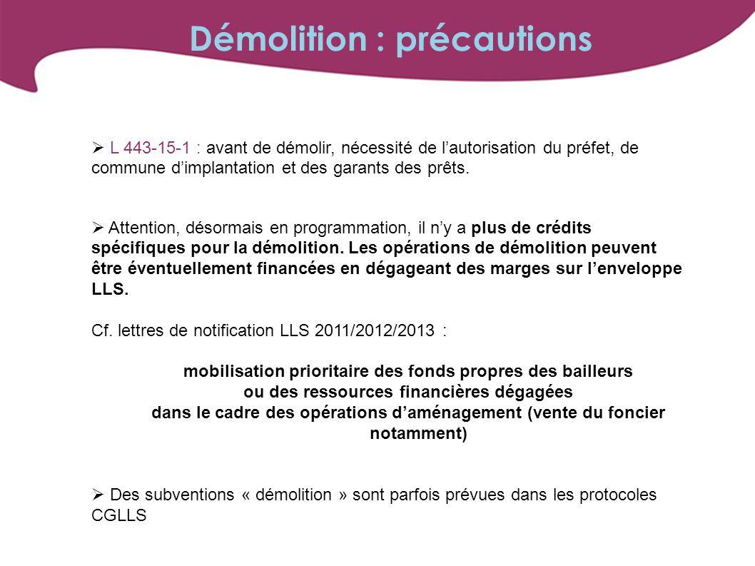 L 443-15-1 : avant de démolir, nécessité de lautorisation du préfet, de commune dimplantation et des garants des prêts.