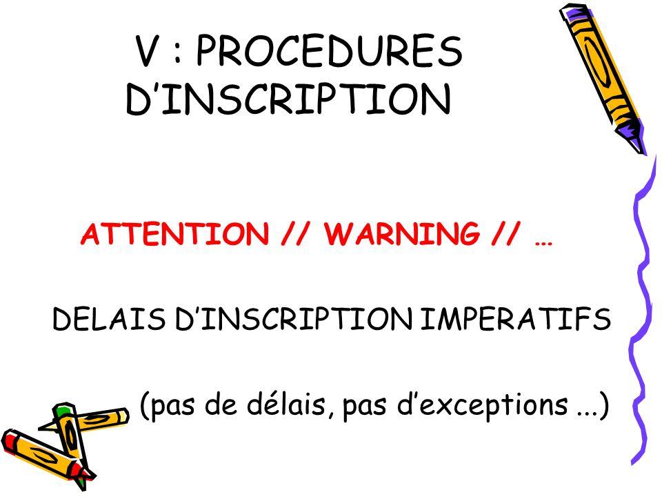 V : PROCEDURES DINSCRIPTION ATTENTION // WARNING // … DELAIS DINSCRIPTION IMPERATIFS (pas de délais, pas dexceptions...)