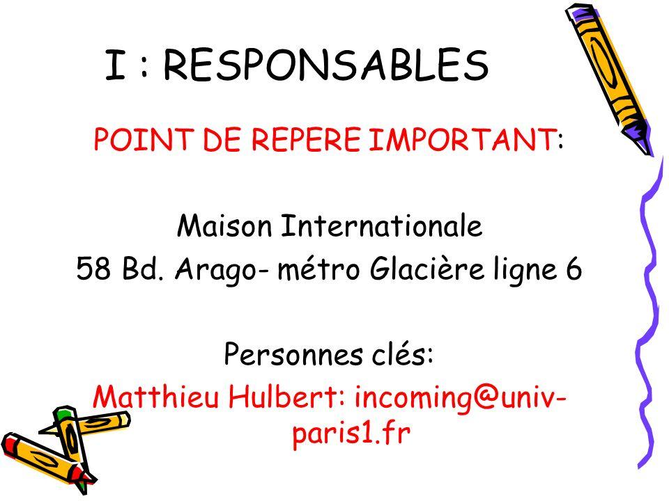 I : RESPONSABLES POINT DE REPERE IMPORTANT: Maison Internationale 58 Bd.