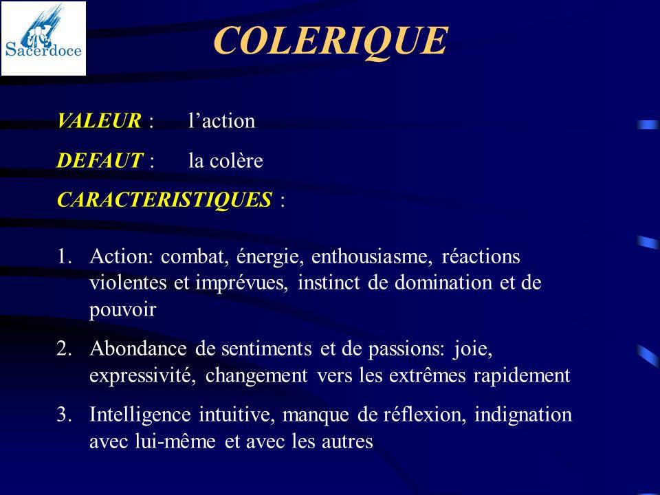 COLERIQUE VALEUR :laction DEFAUT :la colère CARACTERISTIQUES : 1.Action: combat, énergie, enthousiasme, réactions violentes et imprévues, instinct de