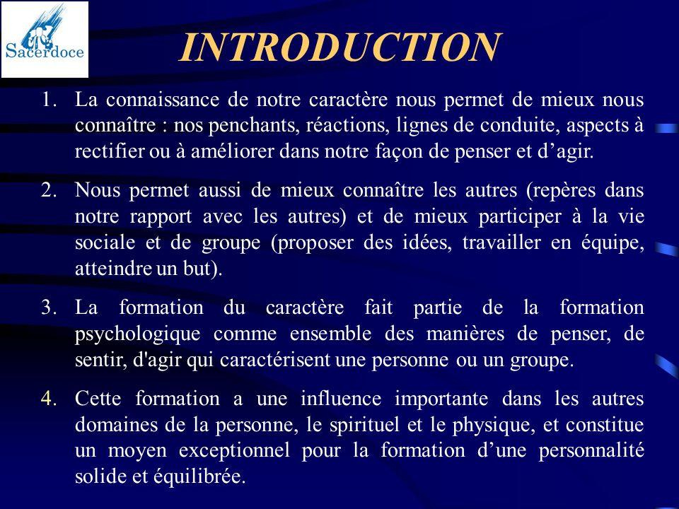 INTRODUCTION 1.La connaissance de notre caractère nous permet de mieux nous connaître : nos penchants, réactions, lignes de conduite, aspects à rectif
