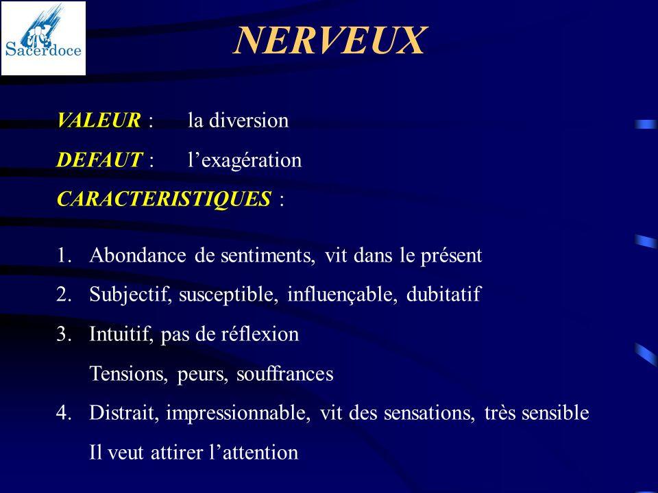 NERVEUX VALEUR :la diversion DEFAUT :lexagération CARACTERISTIQUES : 1.Abondance de sentiments, vit dans le présent 2.Subjectif, susceptible, influenç