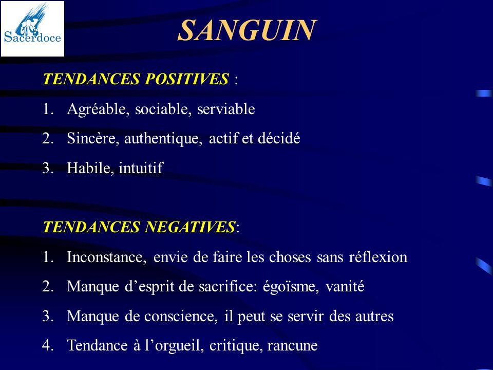 SANGUIN TENDANCES POSITIVES : 1.Agréable, sociable, serviable 2.Sincère, authentique, actif et décidé 3.Habile, intuitif TENDANCES NEGATIVES: 1.Incons