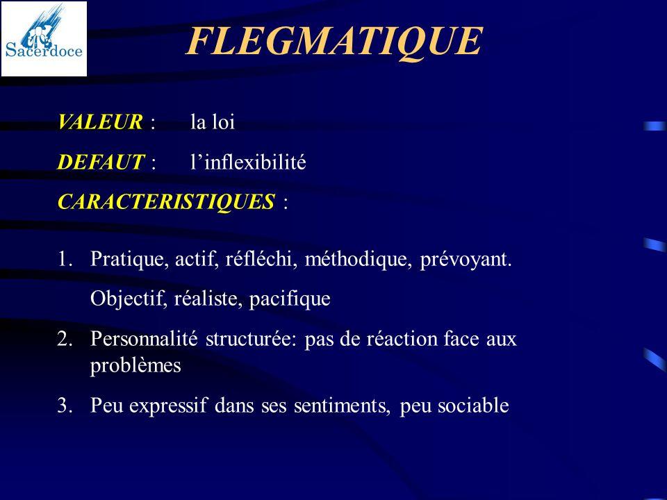 FLEGMATIQUE VALEUR :la loi DEFAUT :linflexibilité CARACTERISTIQUES : 1.Pratique, actif, réfléchi, méthodique, prévoyant. Objectif, réaliste, pacifique