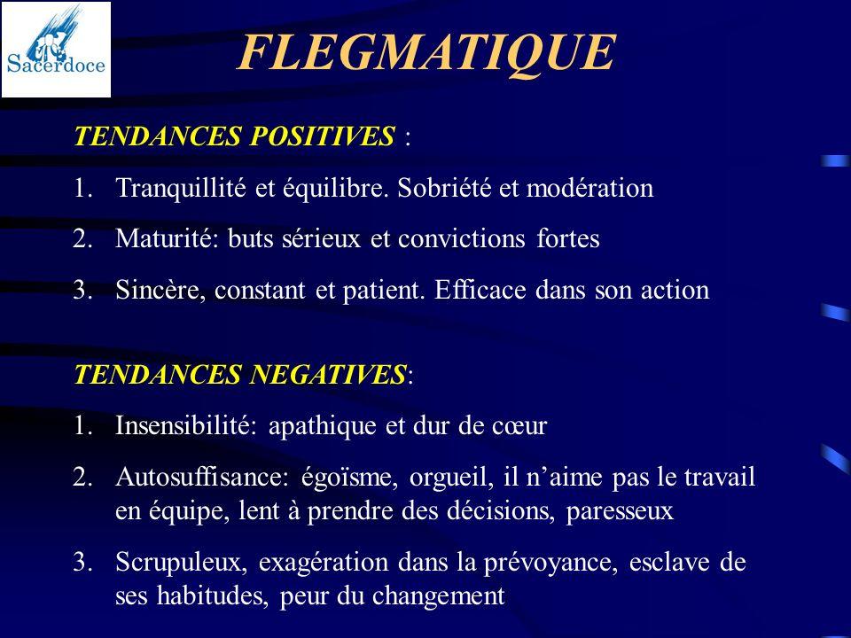TENDANCES POSITIVES : 1.Tranquillité et équilibre. Sobriété et modération 2.Maturité: buts sérieux et convictions fortes 3.Sincère, constant et patien