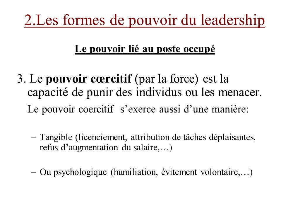 Le pouvoir lié au poste occupé 3. Le pouvoir cœrcitif (par la force) est la capacité de punir des individus ou les menacer. Le pouvoir coercitif sexer