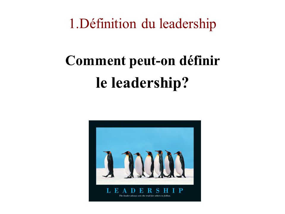 1.Définition du leadership Comment peut-on définir le leadership?