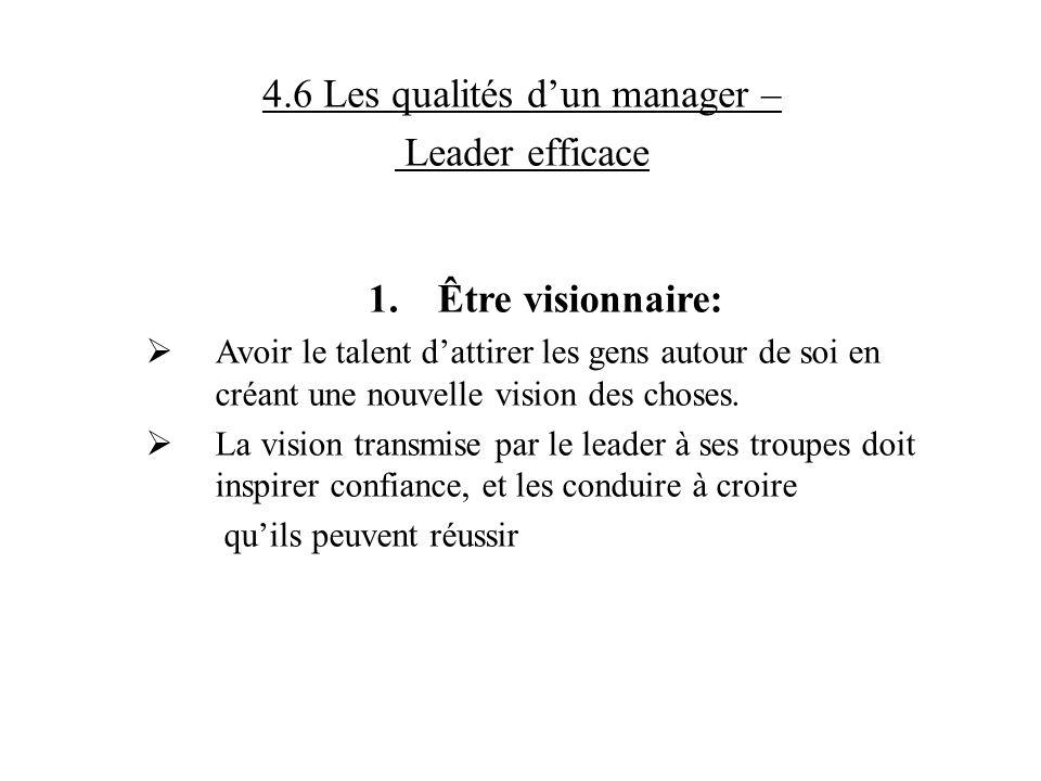 4.6 Les qualités dun manager – Leader efficace 1.Être visionnaire: Avoir le talent dattirer les gens autour de soi en créant une nouvelle vision des c
