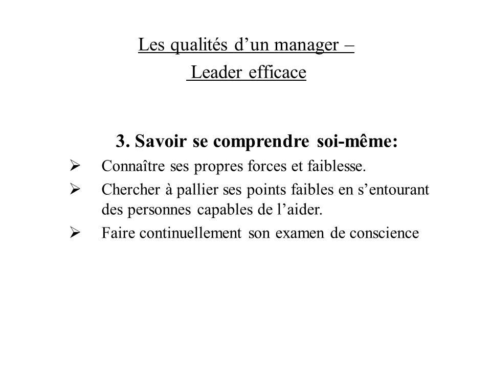 Les qualités dun manager – Leader efficace 3. Savoir se comprendre soi-même: Connaître ses propres forces et faiblesse. Chercher à pallier ses points