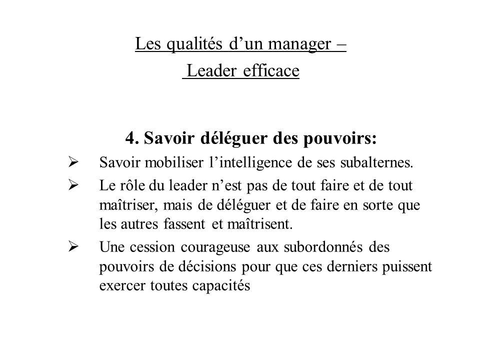 Les qualités dun manager – Leader efficace 4. Savoir déléguer des pouvoirs: Savoir mobiliser lintelligence de ses subalternes. Le rôle du leader nest