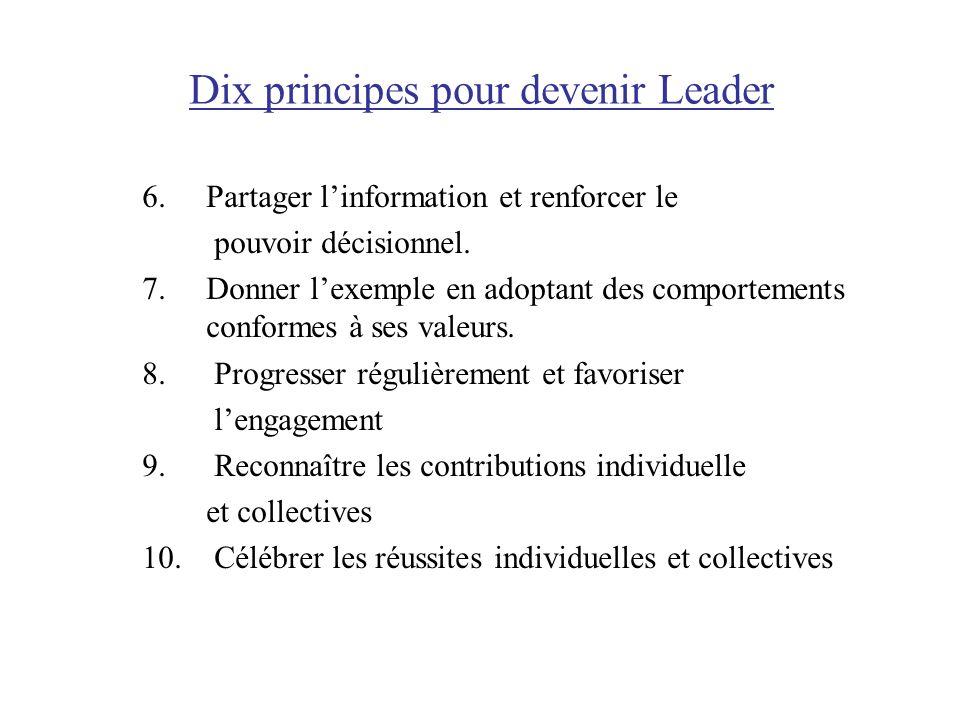 Dix principes pour devenir Leader 6. Partager linformation et renforcer le pouvoir décisionnel. 7. Donner lexemple en adoptant des comportements confo