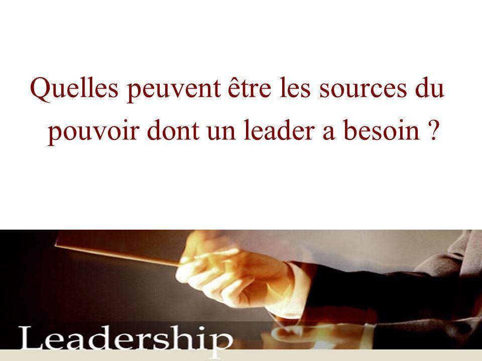 Quelles peuvent être les sources du pouvoir dont un leader a besoin ?