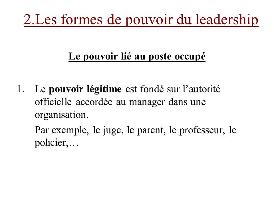 Le pouvoir lié au poste occupé 1.Le pouvoir légitime est fondé sur lautorité officielle accordée au manager dans une organisation. Par exemple, le jug