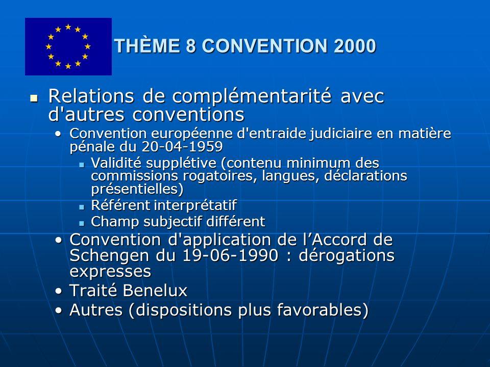 THÈME 8 CONVENTION 2000 Relations de complémentarité avec d'autres conventions Relations de complémentarité avec d'autres conventions Convention europ