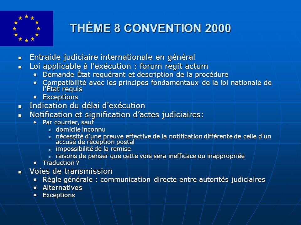THÈME 8 CONVENTION 2000 Entraide judiciaire internationale en général Entraide judiciaire internationale en général Loi applicable à l'exécution : for