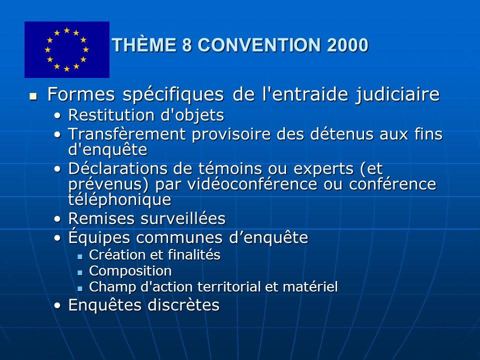 THÈME 8 CONVENTION 2000 Formes spécifiques de l'entraide judiciaire Formes spécifiques de l'entraide judiciaire Restitution d'objetsRestitution d'obje
