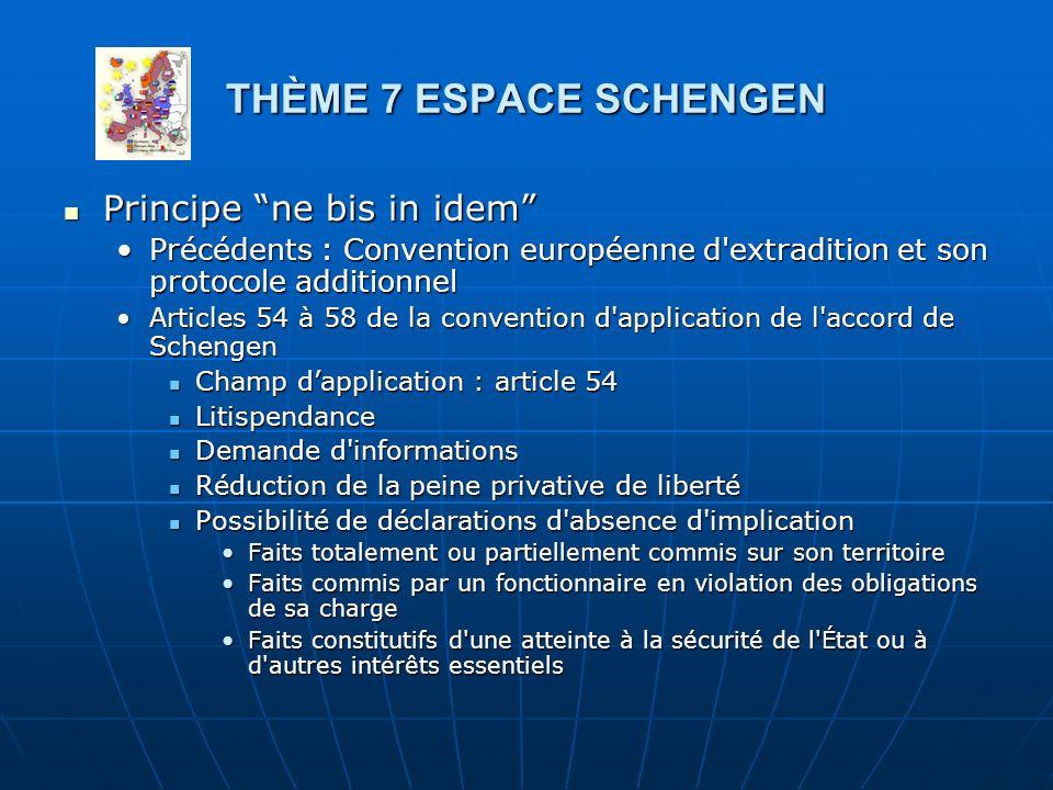 THÈME 7 ESPACE SCHENGEN Principe ne bis in idem Principe ne bis in idem Précédents : Convention européenne d'extradition et son protocole additionnelP