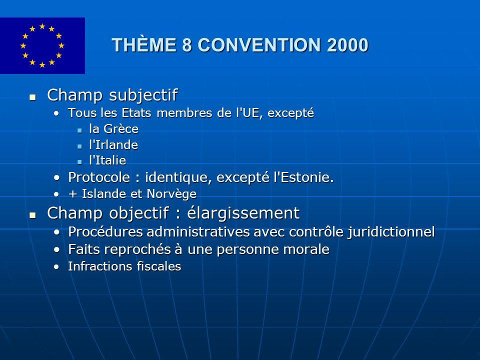 THÈME 8 CONVENTION 2000 Champ subjectif Champ subjectif Tous les Etats membres de l'UE, exceptéTous les Etats membres de l'UE, excepté la Grèce la Grè