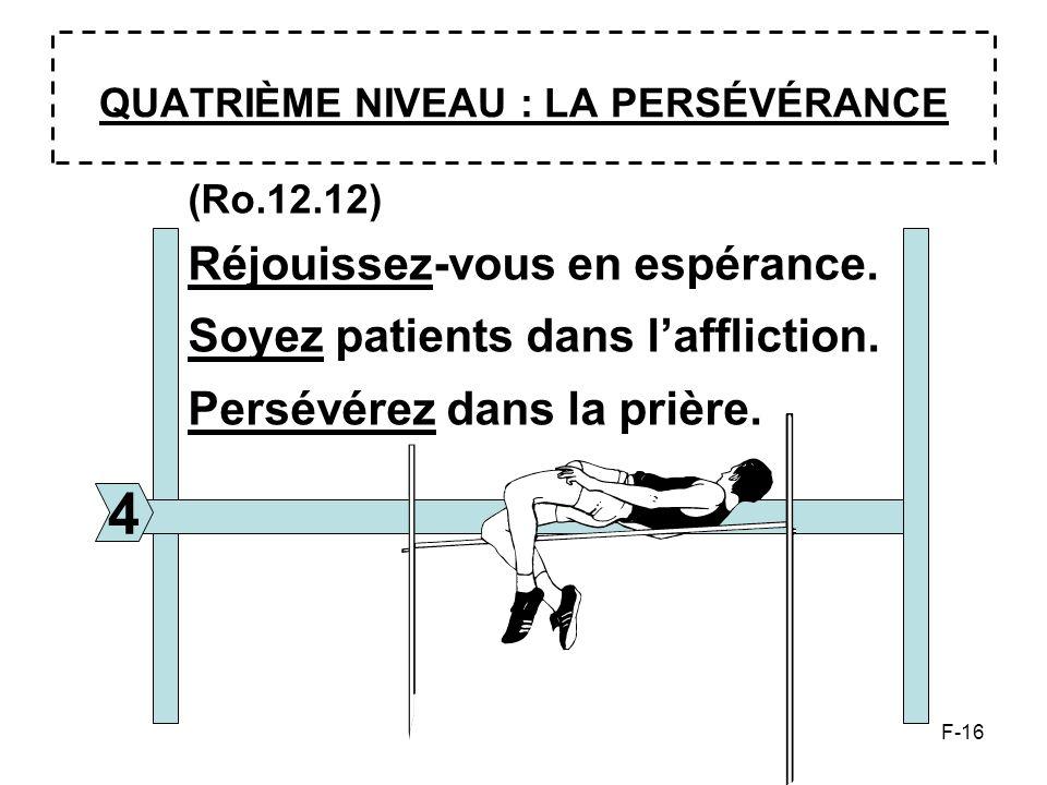 F-16 QUATRIÈME NIVEAU : LA PERSÉVÉRANCE 4 (Ro.12.12) Réjouissez-vous en espérance. Soyez patients dans laffliction. Persévérez dans la prière.