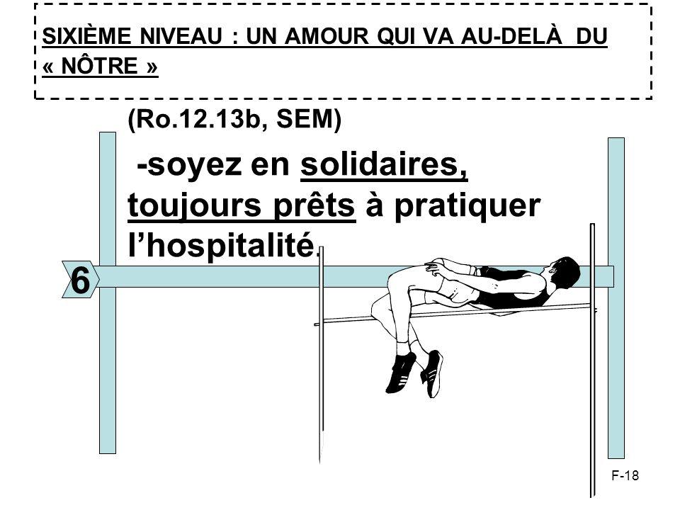 F-18 SIXIÈME NIVEAU : UN AMOUR QUI VA AU-DELÀ DU « NÔTRE » 6 (Ro.12.13b, SEM) -soyez en solidaires, toujours prêts à pratiquer lhospitalité.