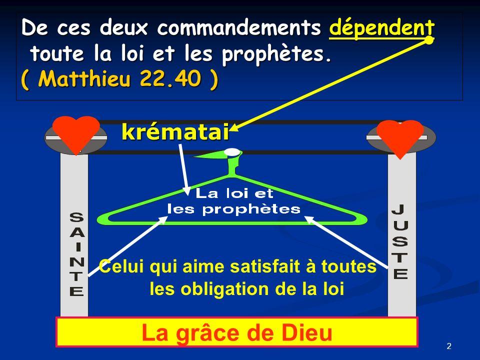 De ces deux commandements dépendent toute la loi et les prophètes. ( Matthieu 22.40 ) 2 Celui qui aime satisfait à toutes les obligation de la loi kré