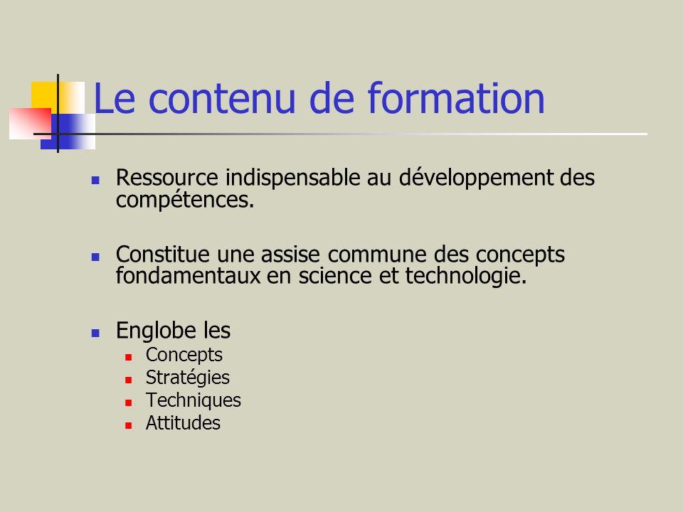 Le contenu de formation Ressource indispensable au développement des compétences. Constitue une assise commune des concepts fondamentaux en science et
