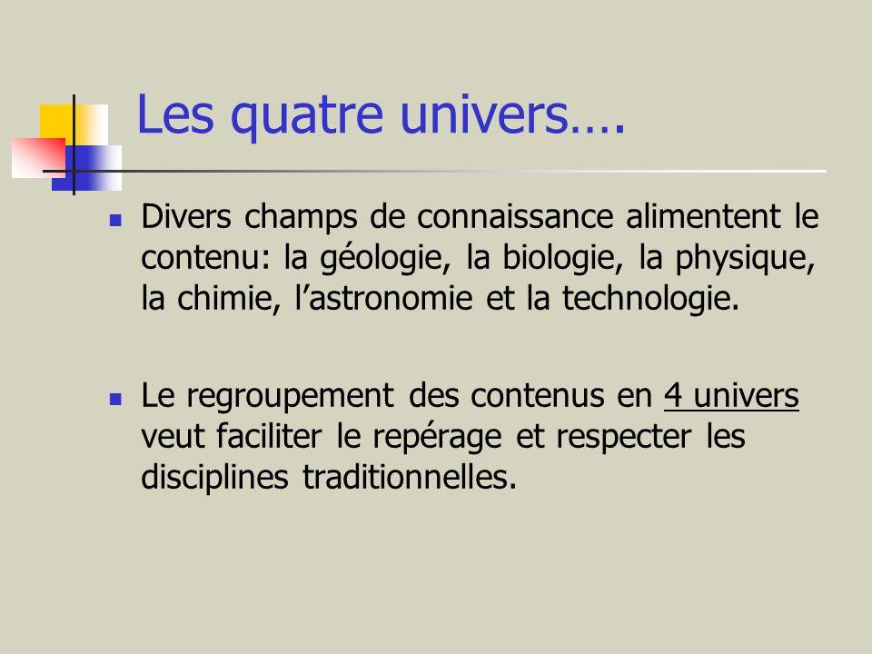Les quatre univers…. Divers champs de connaissance alimentent le contenu: la géologie, la biologie, la physique, la chimie, lastronomie et la technolo