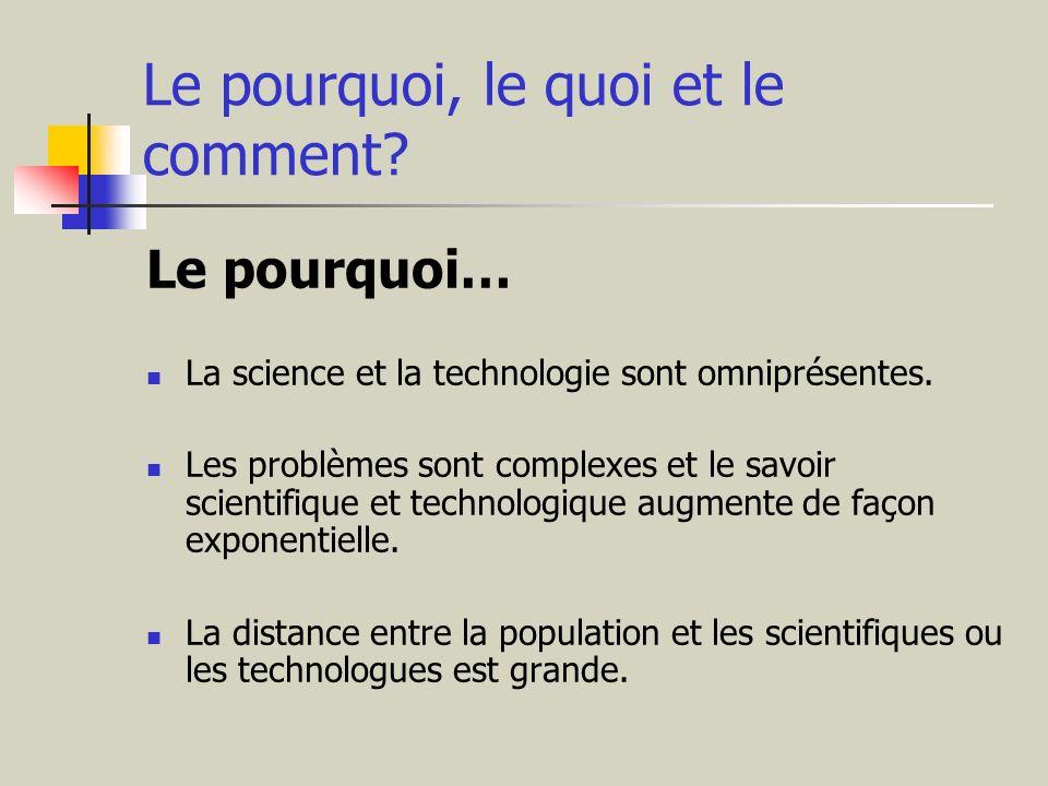 Le pourquoi, le quoi et le comment? Le pourquoi… La science et la technologie sont omniprésentes. Les problèmes sont complexes et le savoir scientifiq