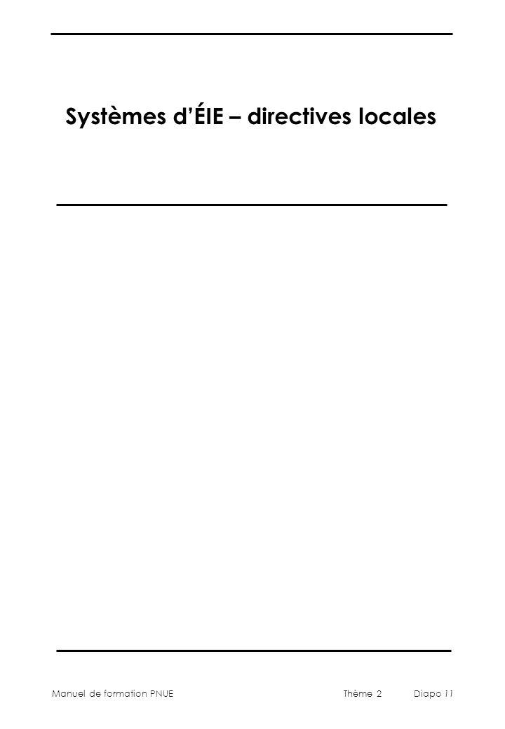 Manuel de formation PNUEThème 2 Diapo 11 Systèmes dÉIE – directives locales