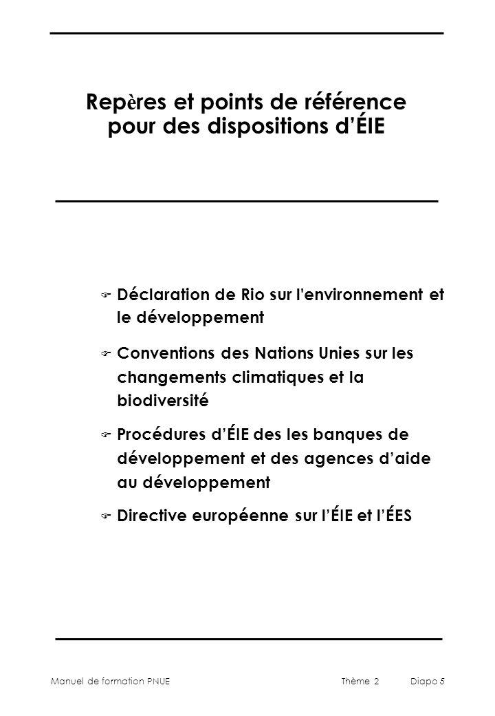 Manuel de formation PNUEThème 2 Diapo 5 Rep è res et points de référence pour des dispositions dÉIE F Déclaration de Rio sur l environnement et le développement F Conventions des Nations Unies sur les changements climatiques et la biodiversité F Procédures dÉIE des les banques de développement et des agences daide au développement F Directive européenne sur lÉIE et lÉES