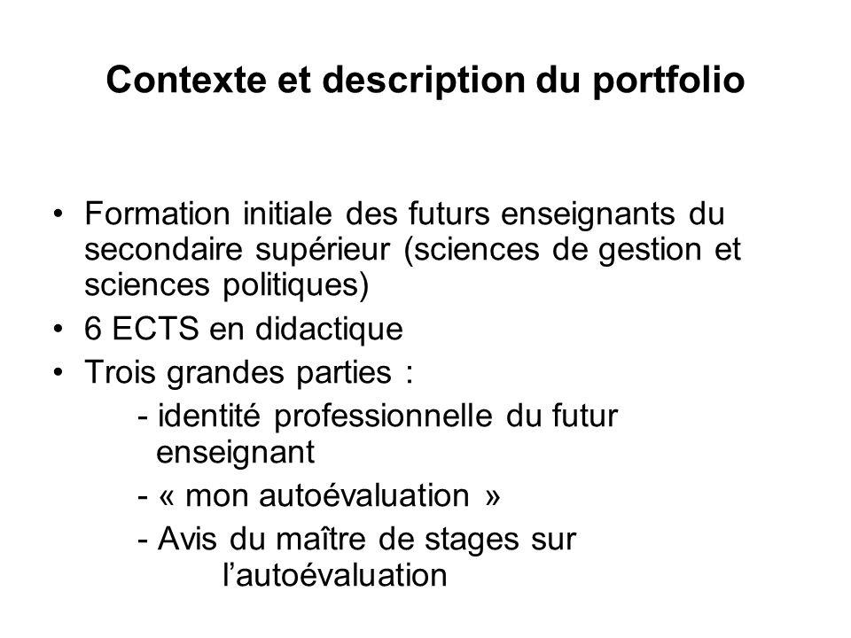 Contexte et description du portfolio Formation initiale des futurs enseignants du secondaire supérieur (sciences de gestion et sciences politiques) 6