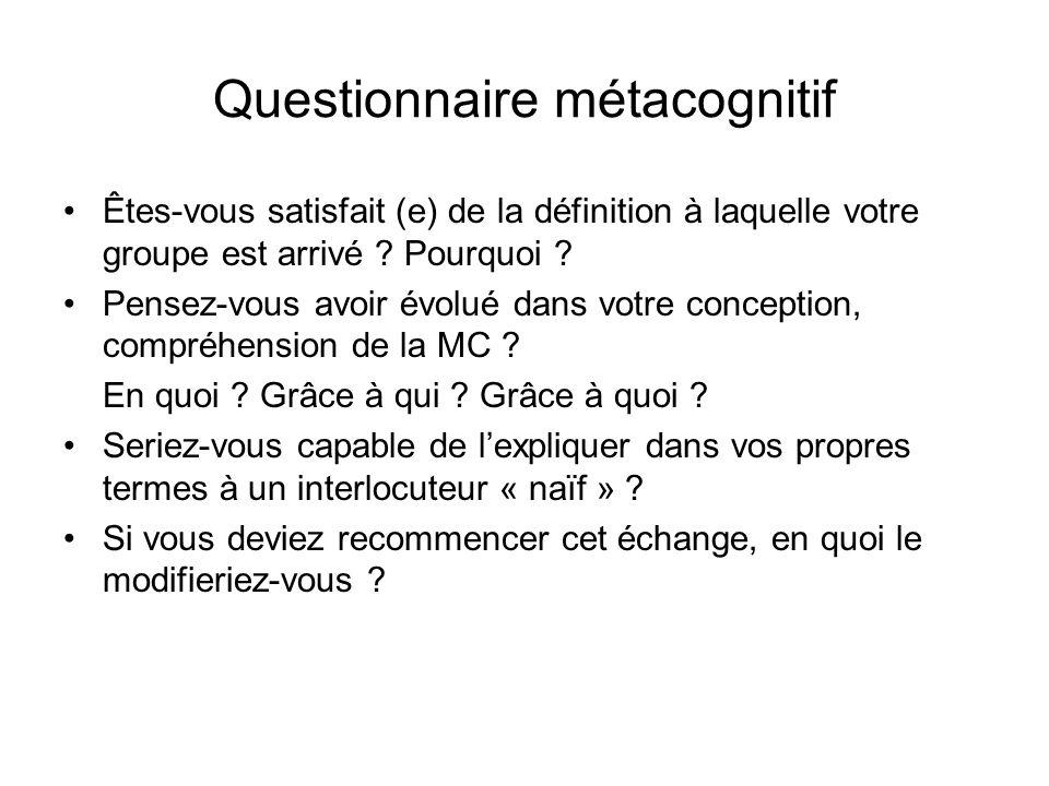 Questionnaire métacognitif Êtes-vous satisfait (e) de la définition à laquelle votre groupe est arrivé ? Pourquoi ? Pensez-vous avoir évolué dans votr