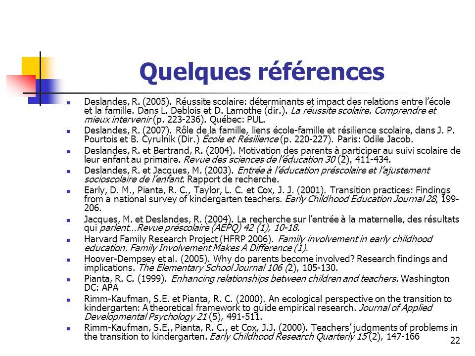 22 Quelques références Deslandes, R.(2005).