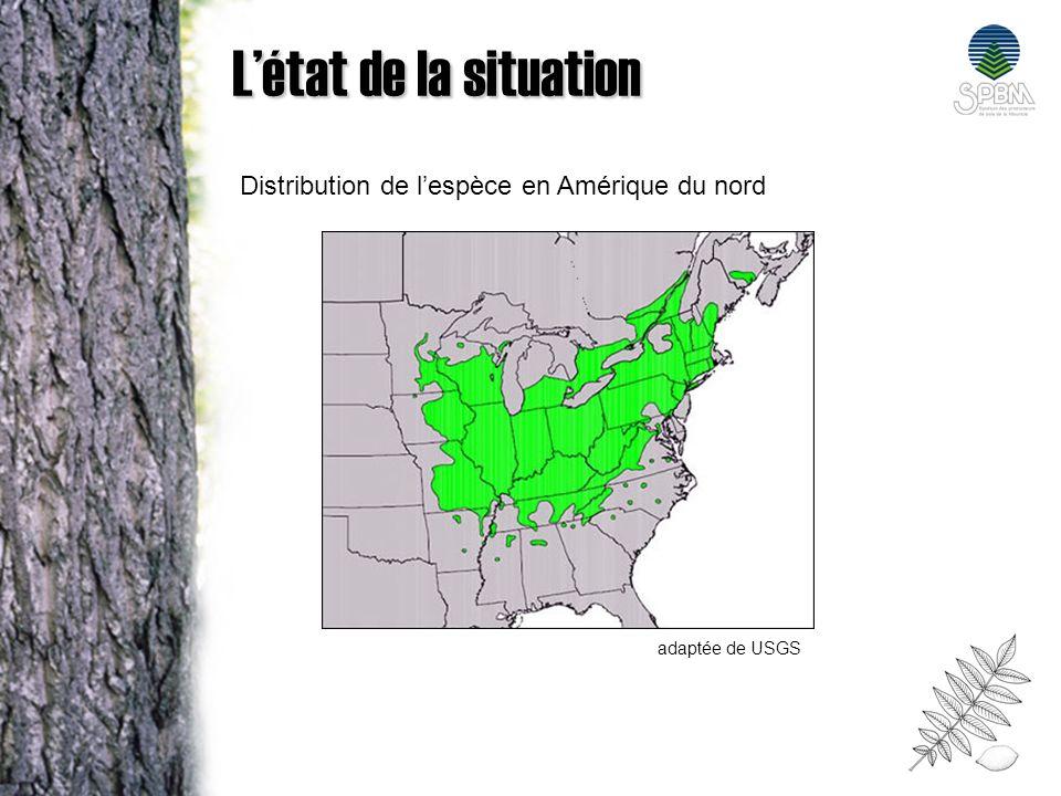 Létat de la situation Distribution de lespèce en Amérique du nord adaptée de USGS