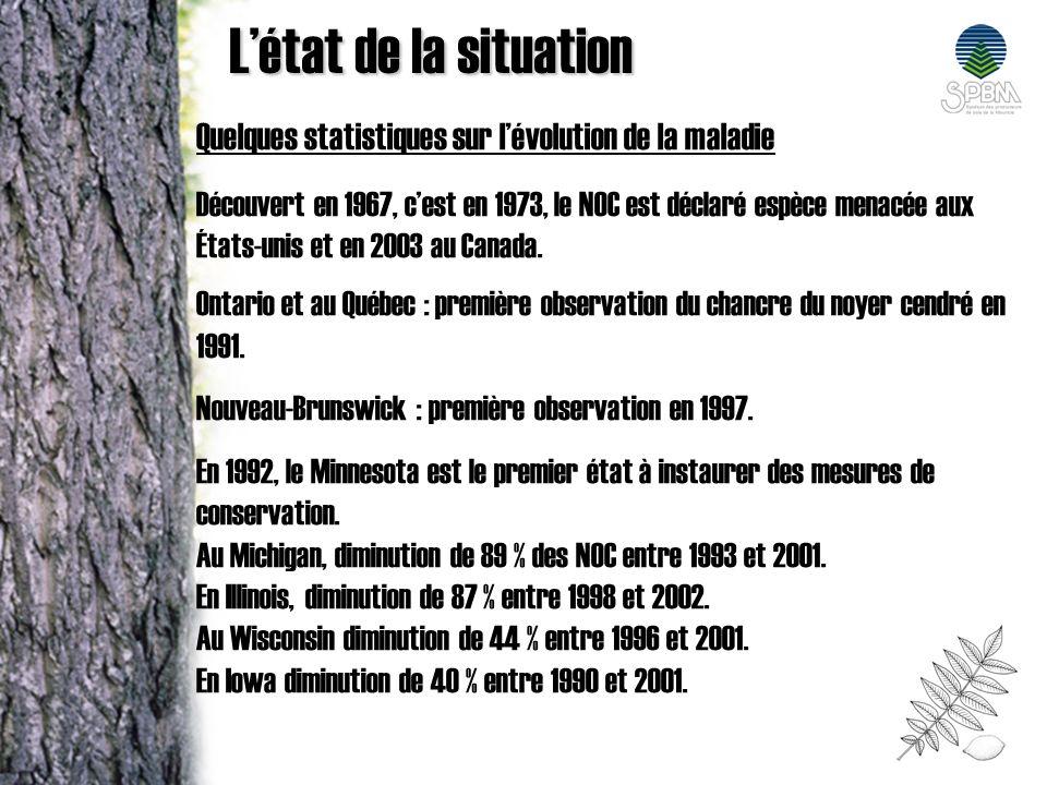 Quelques statistiques sur lévolution de la maladie Découvert en 1967, cest en 1973, le NOC est déclaré espèce menacée aux États-unis et en 2003 au Can