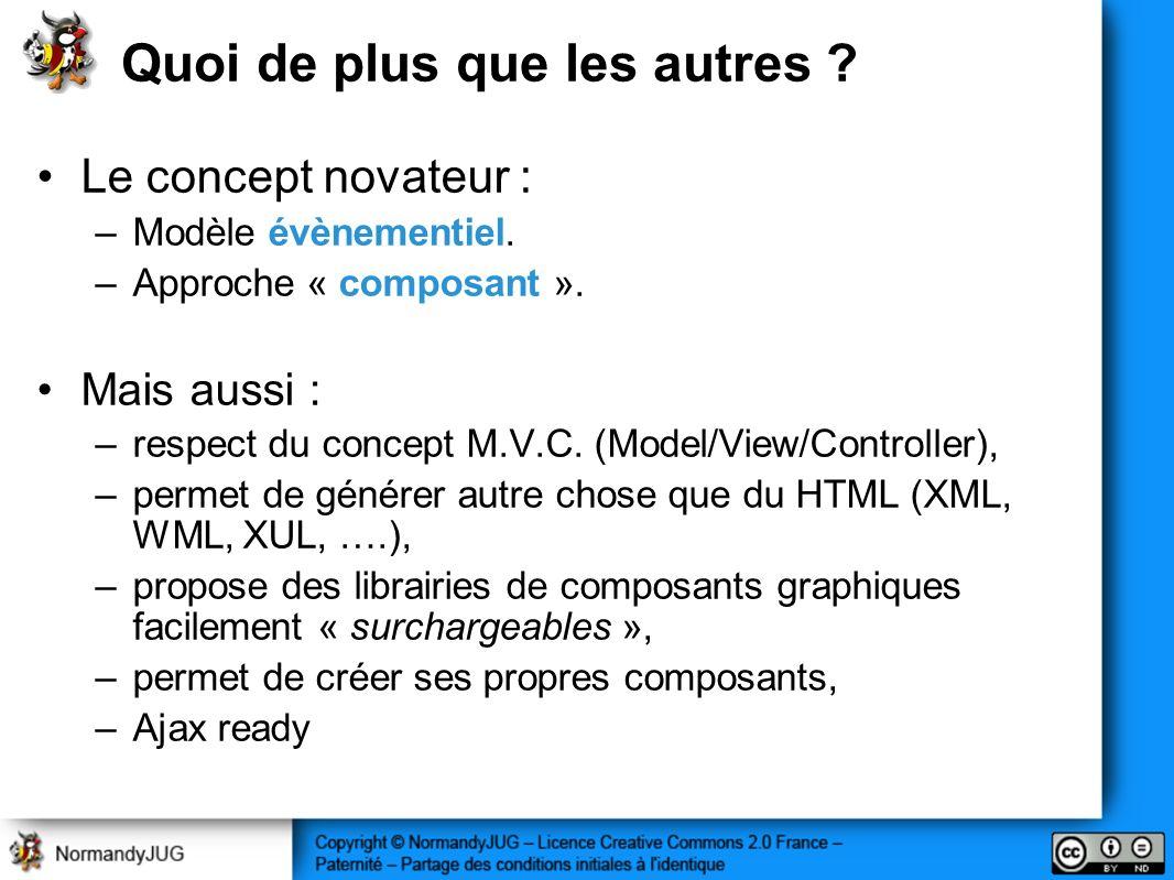 Quoi de plus que les autres ? Le concept novateur : –Modèle évènementiel. –Approche « composant ». Mais aussi : –respect du concept M.V.C. (Model/View
