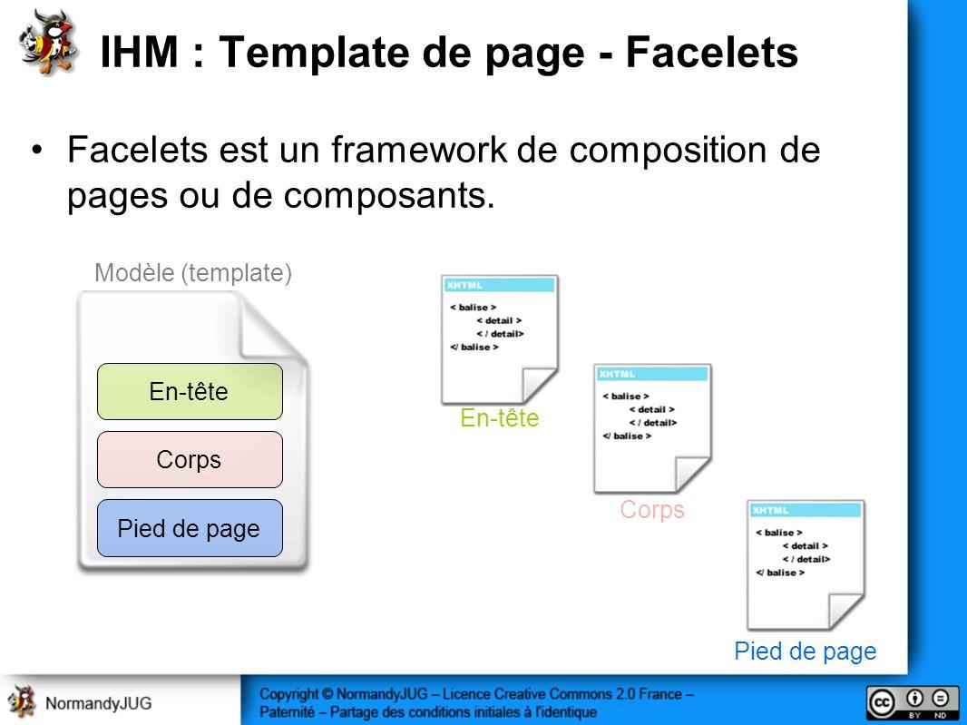 Modèle (template) IHM : Template de page - Facelets Facelets est un framework de composition de pages ou de composants. En-tête Corps Pied de page En-