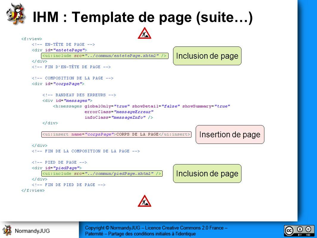 IHM : Template de page (suite…) Inclusion de page Insertion de page