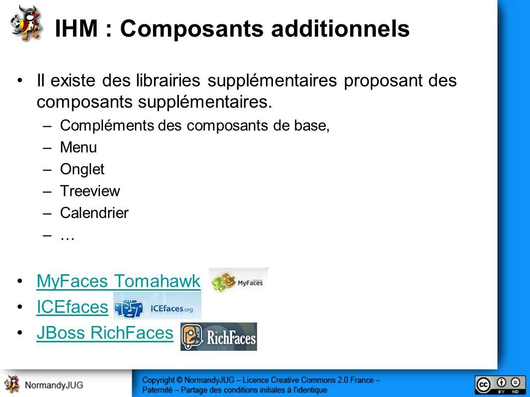 IHM : Composants additionnels Il existe des librairies supplémentaires proposant des composants supplémentaires.