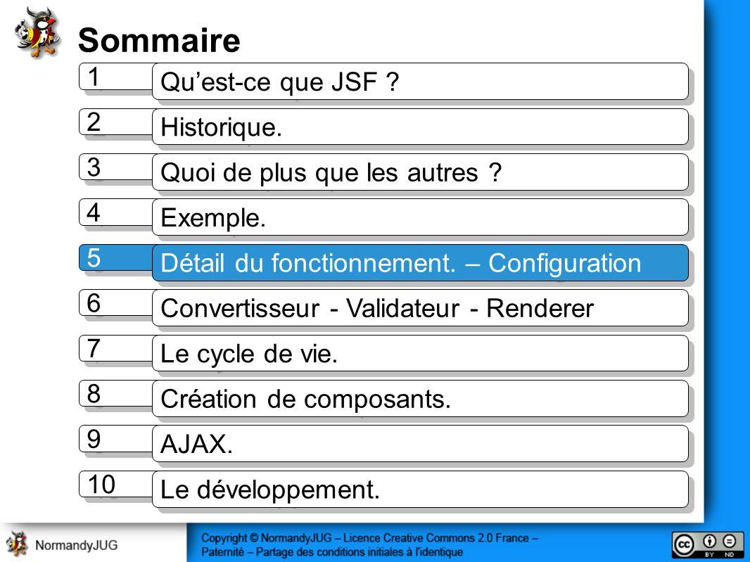 Sommaire 1 1 Quest-ce que JSF ? 2 2 Historique. 3 3 Quoi de plus que les autres ? 4 4 Exemple. 5 5 Détail du fonctionnement. – Configuration 7 7 Le cy