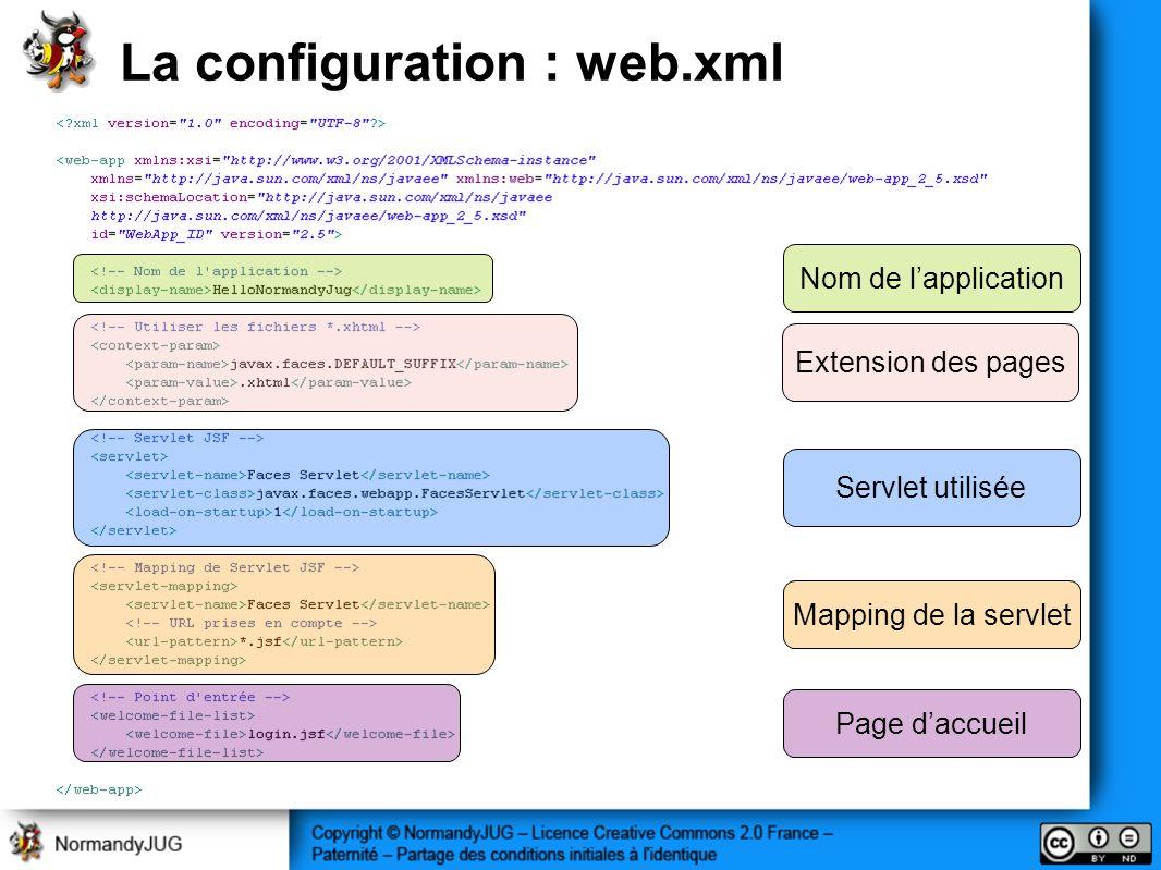 La configuration : web.xml Nom de lapplication Mapping de la servlet Page daccueil Servlet utilisée Extension des pages