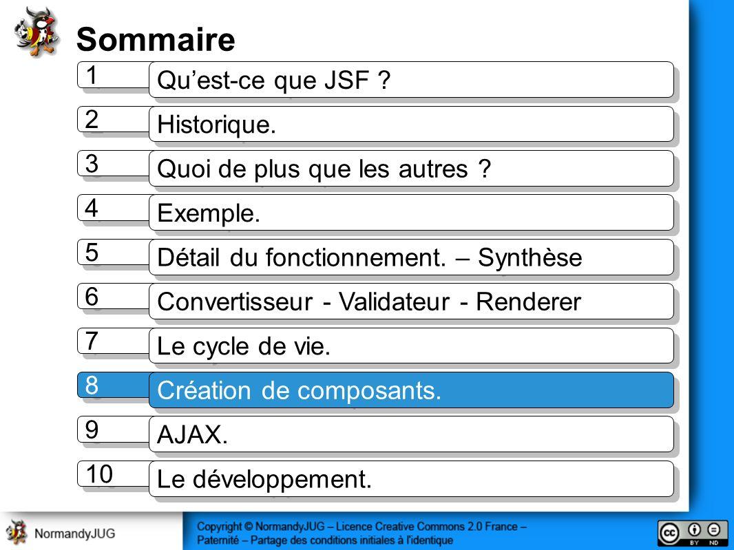 Sommaire 1 1 Quest-ce que JSF ? 2 2 Historique. 3 3 Quoi de plus que les autres ? 4 4 Exemple. 5 5 Détail du fonctionnement. – Synthèse 7 7 Le cycle d