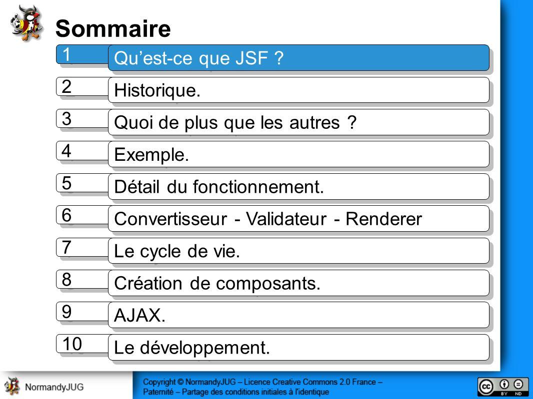 Sommaire 1 1 Quest-ce que JSF ? 2 2 Historique. 3 3 Quoi de plus que les autres ? 4 4 Exemple. 5 5 Détail du fonctionnement. 7 7 Le cycle de vie. 8 8