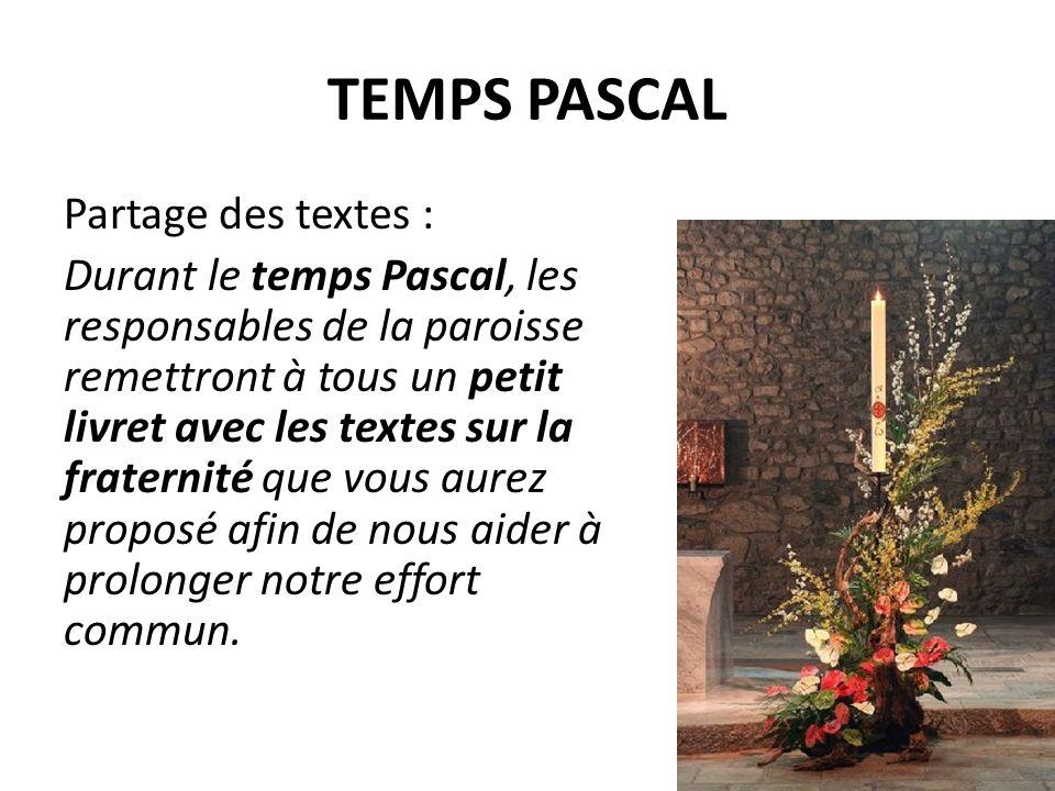 TEMPS PASCAL Partage des textes : Durant le temps Pascal, les responsables de la paroisse remettront à tous un petit livret avec les textes sur la fraternité que vous aurez proposé afin de nous aider à prolonger notre effort commun.