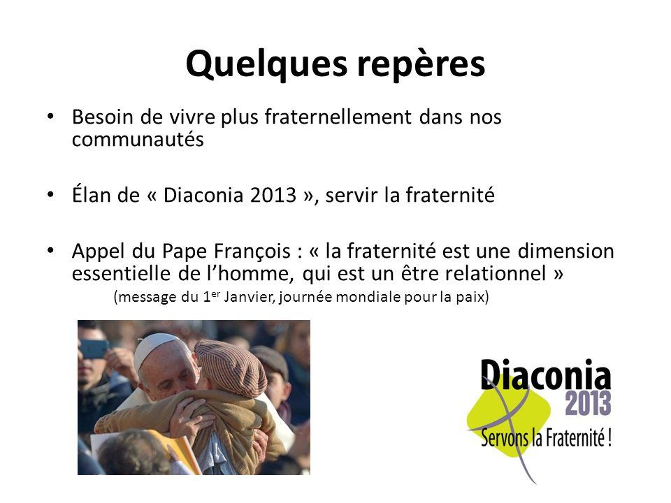 Quelques repères Besoin de vivre plus fraternellement dans nos communautés Élan de « Diaconia 2013 », servir la fraternité Appel du Pape François : « la fraternité est une dimension essentielle de lhomme, qui est un être relationnel » (message du 1 er Janvier, journée mondiale pour la paix)