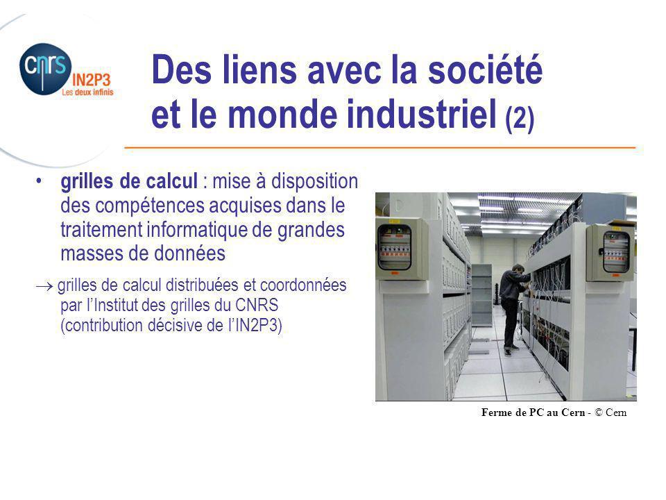 ______________________________________________ Des liens avec la société et le monde industriel (2) grilles de calcul : mise à disposition des compétences acquises dans le traitement informatique de grandes masses de données grilles de calcul distribuées et coordonnées par lInstitut des grilles du CNRS (contribution décisive de lIN2P3) Ferme de PC au Cern - © Cern