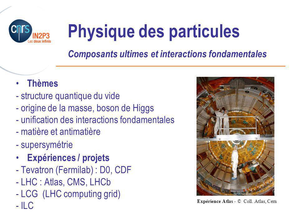 ______________________________________________ Physique des particules Composants ultimes et interactions fondamentales Thèmes - structure quantique du vide - origine de la masse, boson de Higgs - unification des interactions fondamentales - matière et antimatière - supersymétrie Expériences / projets - Tevatron (Fermilab) : D0, CDF - LHC : Atlas, CMS, LHCb - LCG (LHC computing grid) - ILC Expérience Atlas - © Coll.